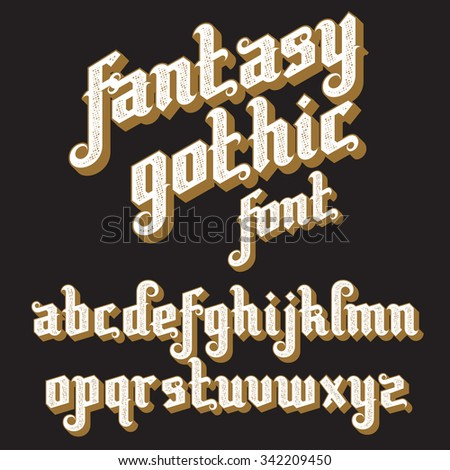 Fantasy Gothic Font. Retro vintage alphabet. Custom type letters on a dark background. Stock vector typography for labels, headlines, posters etc. - stock vector