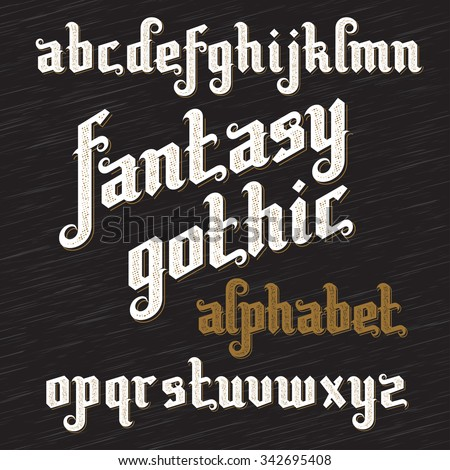 Fantasy Gothic Font. Retro vintage gothic alphabet. Custom gothic type letters on dark background. Gothic typeset. Stock vector gothic typography - stock vector