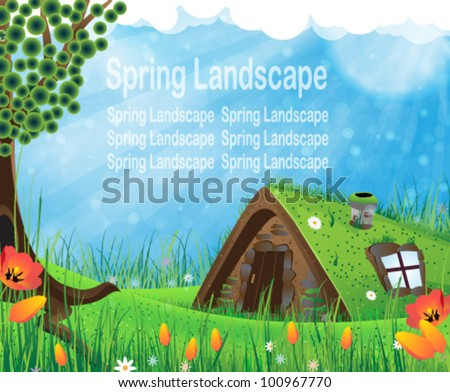 Fantasy house with a sod roof on a meadow with blooming tulips - stock vector