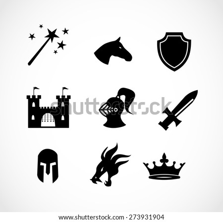 Fantasy icon set vector - stock vector