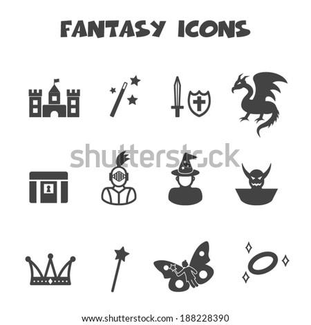 fantasy icons, mono vector symbols - stock vector