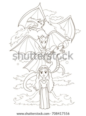 Fantasy Kids Coloring Book Princess And Dragons Fairy Tale Characters Doodle
