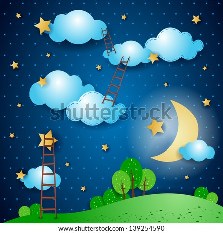 Fantasy landscape at night, vector - stock vector