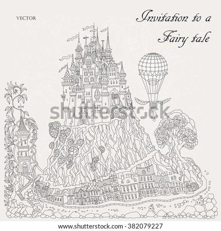 Fantasy Landscape Fairy Tale Medieval Castle On A Hill Fantastic Oak Tree Old