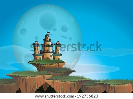 Fantasy landscape with castle on a floating island, create by vector - stock vector
