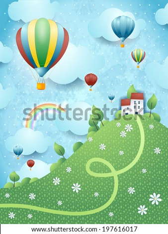 Fantasy landscape with hill and hot air balloons, vector