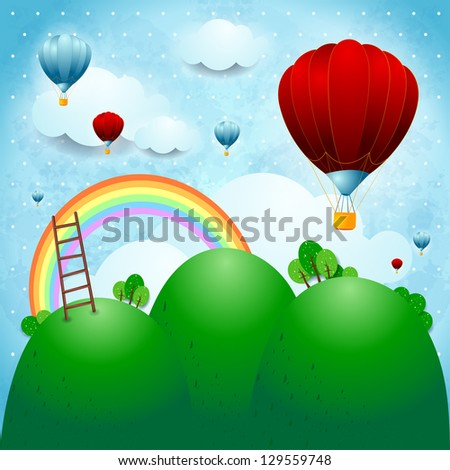 Fantasy landscape with hot air balloons, vector - stock vector