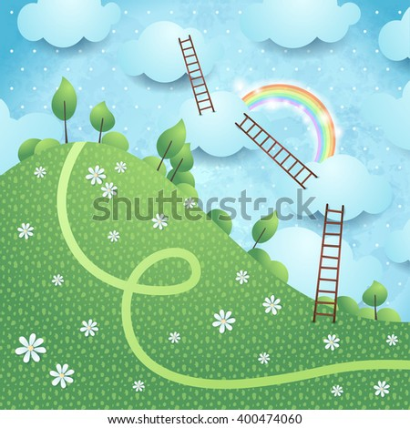 Fantasy landscape with ladders, vector illustration  - stock vector