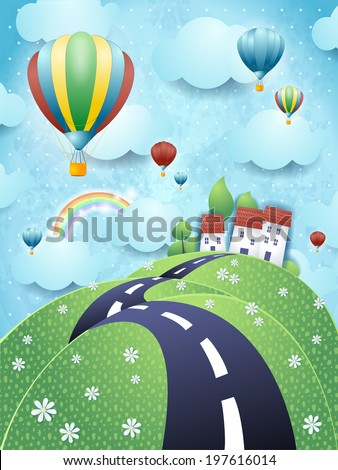 Fantasy landscape with road and hot air balloons, vector  - stock vector