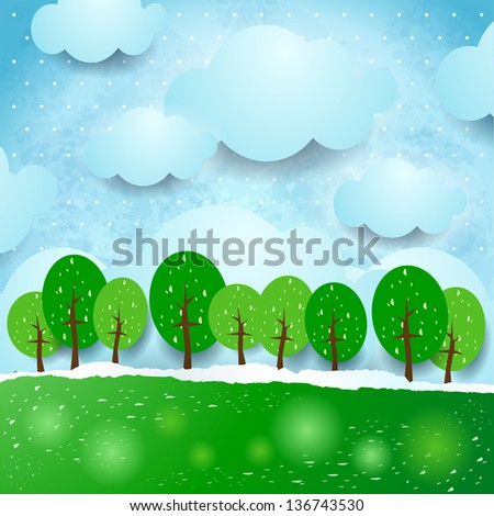 Fantasy landscape with trees, vector - stock vector