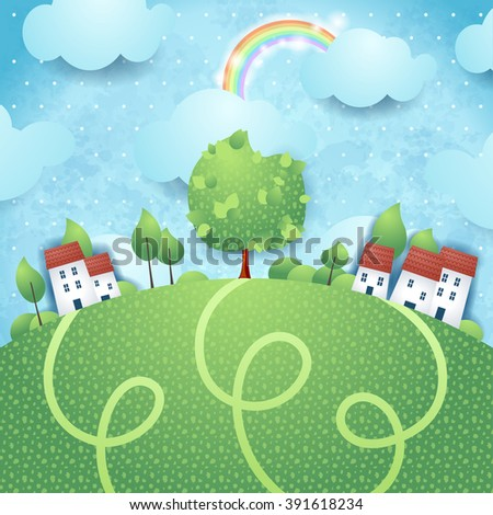 Fantasy landscape with village and big tree, vector illustration  - stock vector