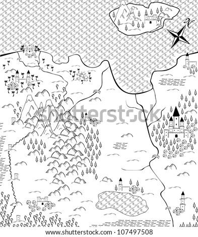 Fantasy map - stock vector