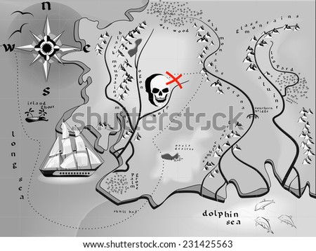 fantasy map treasures with a skull in a vector