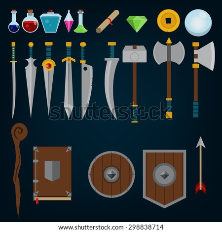Fantasy medieval game assets - stock vector