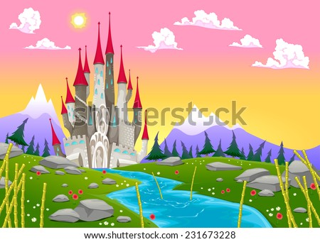 Fantasy mountain landscape with medieval castle. Vector cartoon illustration  - stock vector
