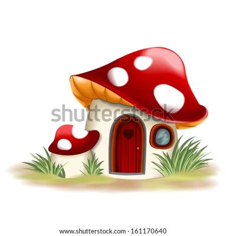 Fantasy Houses Drawing Fantasy Mushroom House Stock