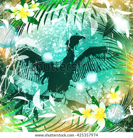 Fantasy Nature Abstract Background With Cormorant Bird - stock vector