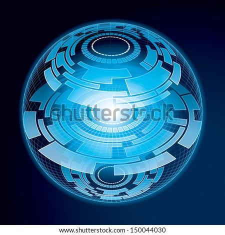 Fantasy Navigation Sphere. Vector Illustration - stock vector