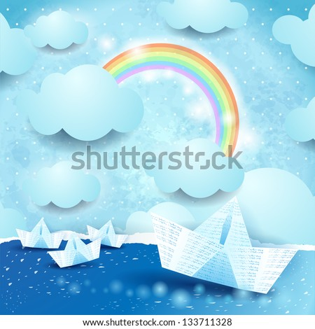 Fantasy seascape with paper boat, vector - stock vector