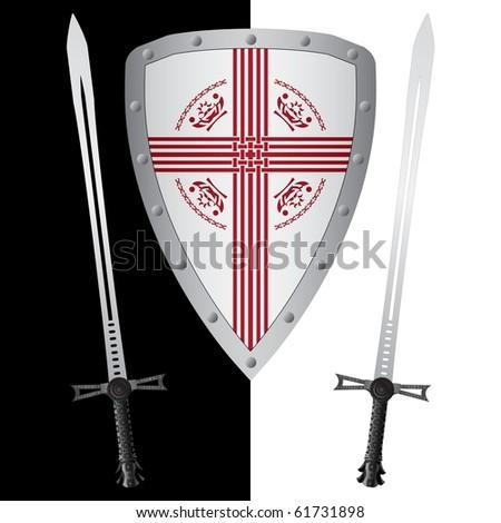 fantasy shield and swords. first variant. vector illustration - stock vector