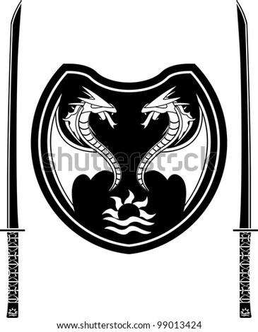 fantasy shield and swords of eastern warriors. vector illustration - stock vector