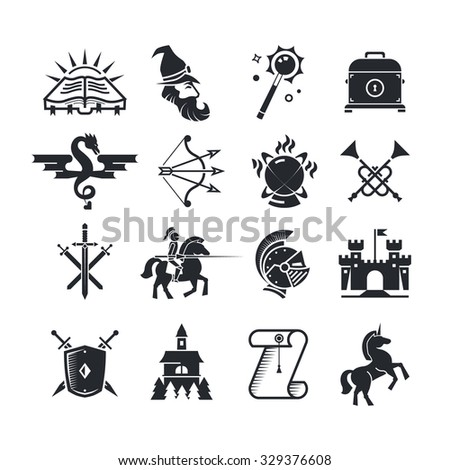 Fantasy tale black vector icons set. Medieval arrow and bow, spellbook and witchcraft illustration - stock vector