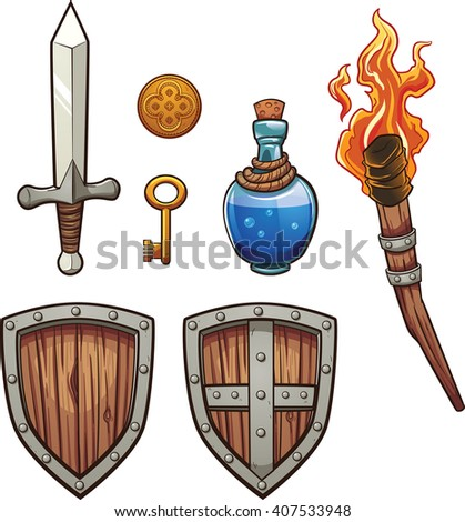 Fantasy themed items. Vector clip art illustration with simple gradients. Each on a separate layer. - stock vector