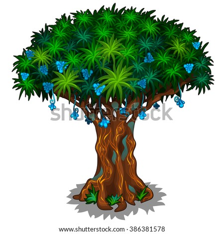 Fantasy tree with blue flowers. Vector illustration. - stock vector
