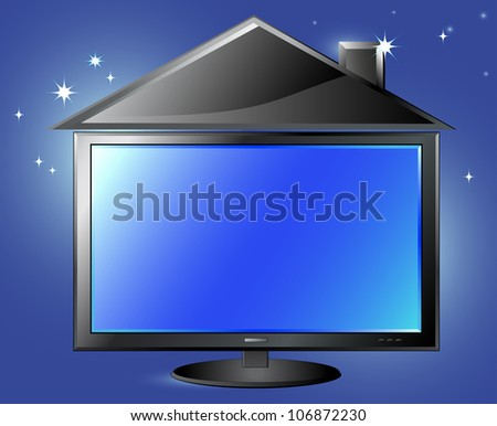 fantasy TV screen and house silhouette on night sky background and space for text - stock vector