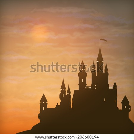 Fantasy vector castle silhouette on the hill against moonlight sky with soft clouds texture - stock vector