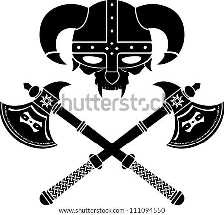 fantasy viking helmet. second variant. vector illustration - stock vector