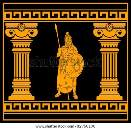 fantasy warrior with columns. second variant. vector illustration - stock vector