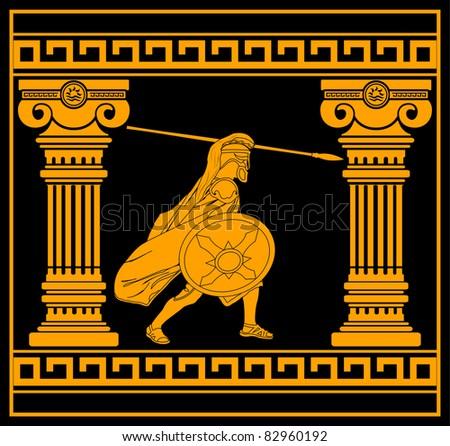 fantasy warrior with columns. third variant. vector illustration - stock vector