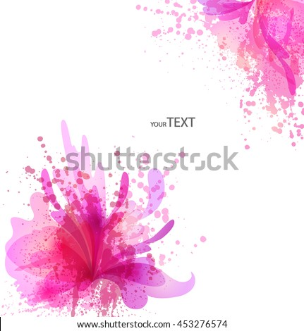 Fantasy Watercolor vector background with colorful flower and blots. Abstract floral elements . Colorful Banner Design  - stock vector