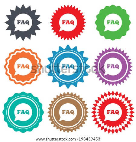 FAQ information sign icon. Help speech bubble symbol. Stars stickers. Certificate emblem labels. Vector