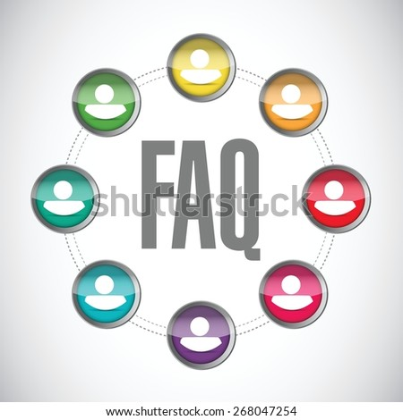 faq solution team sign illustration design over white - stock vector