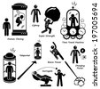 Far Future of Human Technology Science Fiction Stick Figure Pictogram Icon Cliparts - stock photo