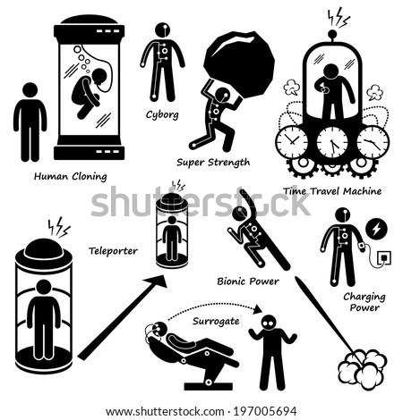 Far Future of Human Technology Science Fiction Stick Figure Pictogram Icon Cliparts - stock vector