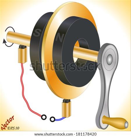 Faraday Disk Generator - stock vector