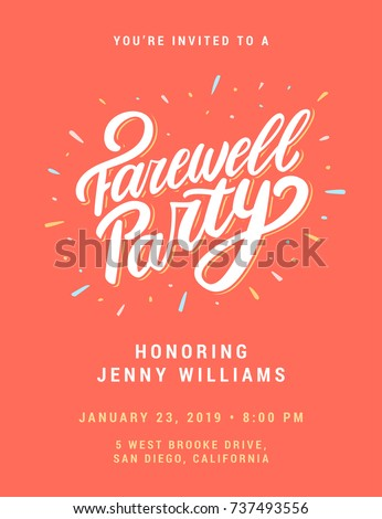 Farewell Party Invitation Template Stock Photo Photo Vector