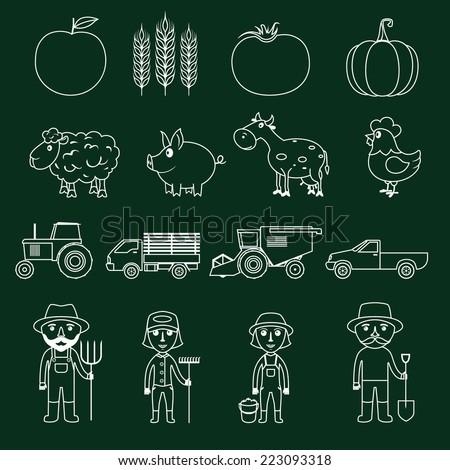 Farm agriculture farmer avatar outline business icons set isolated vector illustration - stock vector