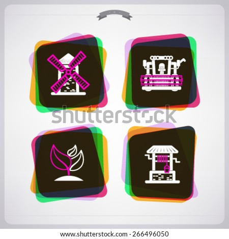 Farm (agriculture) signs, from left to right, top to bottom -  Windmill, Combine harvester, Growing plant, Water well.  - stock vector