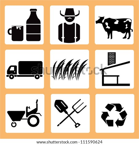 farm  and agriculture icon set - stock vector