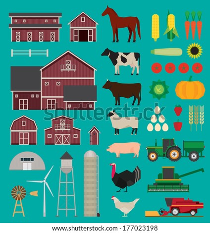 Farm and agriculture infographics set. Rural life, sheep and cow, pig, turkey and horse. Corn and vegetables. - stock vector