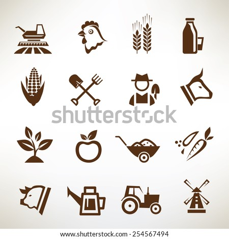 farm and agriculture vector icons collection - stock vector
