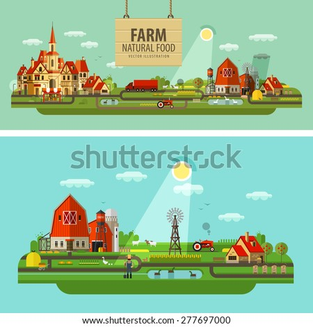 Farm and city. Set of elements - tractor, farmer, barn, truck, house, building, hay, harvest, windy mill, animals, honey, lake, tree, shop, fruit and vegetables - stock vector