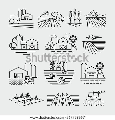 Farm and farming fields line icons vector