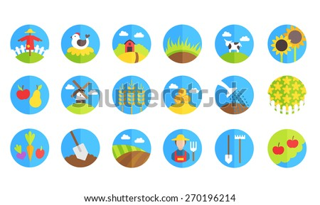 farm and gardening vector icons on white background - stock vector