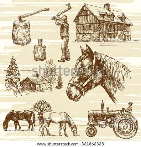 Farm and horses - hand drawn set - stock vector
