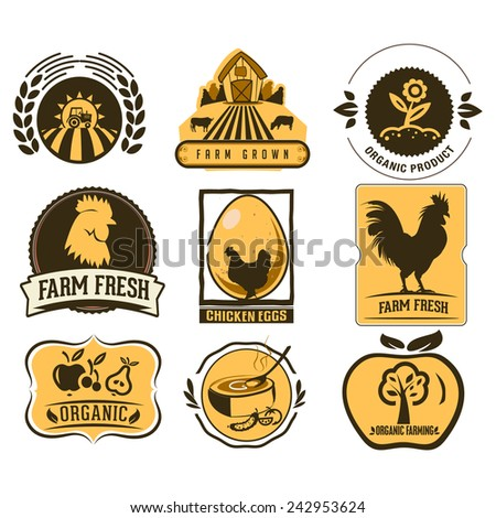 Farm and Organic Food icons - stock vector
